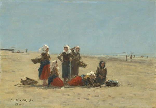Stampa su Tela Women on the Beach at Berck, 1881