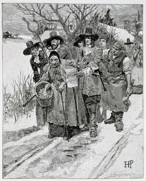 Arresting a Witch, engraved by J. Bernstrom, illustration from 'The Second Generation of Englishmen in America' by Thomas Wentworth Higginson, pub. in Harper's Magazine, 1883 Reproducere