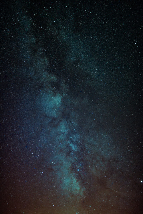 Fotografii artistice Astrophotography of Orange-Blue Milky Way.