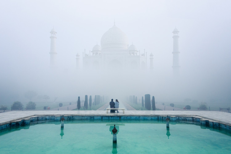Misty Taj Mahal Tablou Canvas