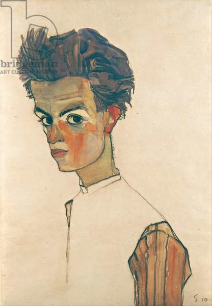 Self-Portrait with Striped Shirt, 1910 Reproducere
