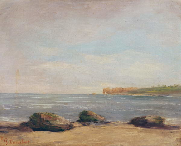 The Beach at Etretat, 1872 Reproducere
