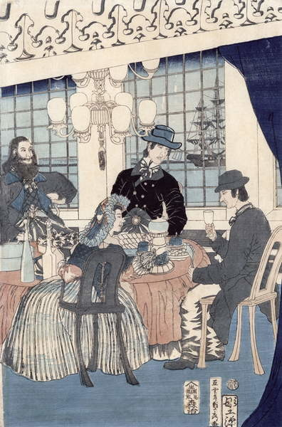 The salon of a house of foreign merchants at Yokohama, 1861 Reproducere