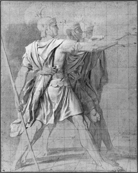 The three Horatii brothers, study for 'The Oath of the Horatii', 1785 Reproducere