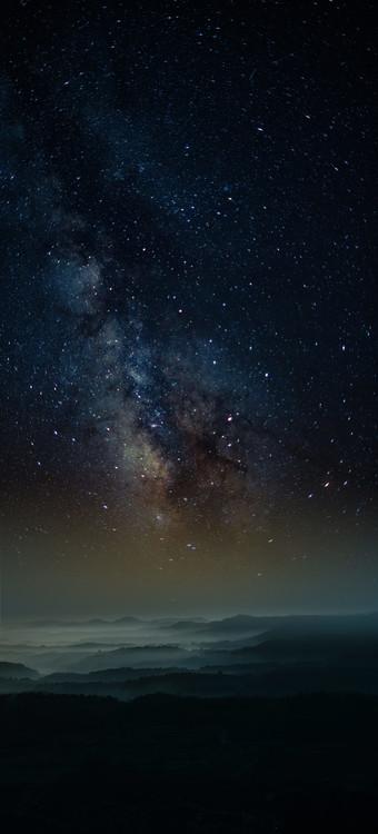 Ekskluzivna fotografska umetnost Astrophotography picture of Granadella landscape with milky way on the night sky.