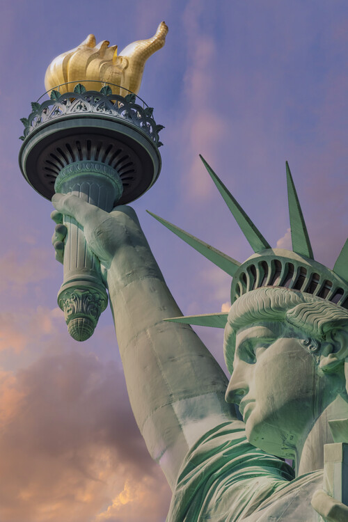 Ekskluzivna fotografska umetnost NEW YORK CITY Statue of Liberty at sunset