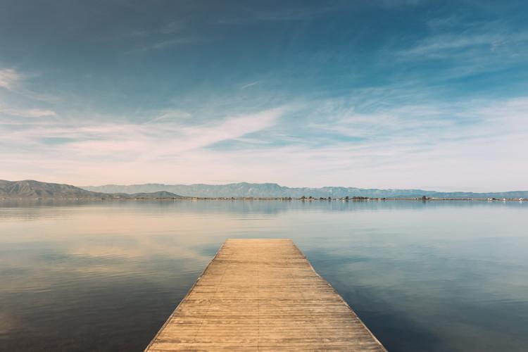 Ekskluzivna fotografska umetnost Wood pier at sunset