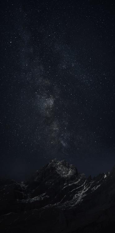 Ekskluzivna fotografska umetnost Astrophotography picture of Monteperdido landscape o with milky way on the night sky.