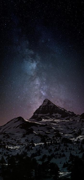 Ekskluzivna fotografska umetnost Astrophotography picture of Pierre-stMartin landscape  with milky way on the night sky.