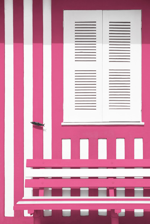 Ekskluzivna fotografska umetnost House facade with Pink and White Stripes