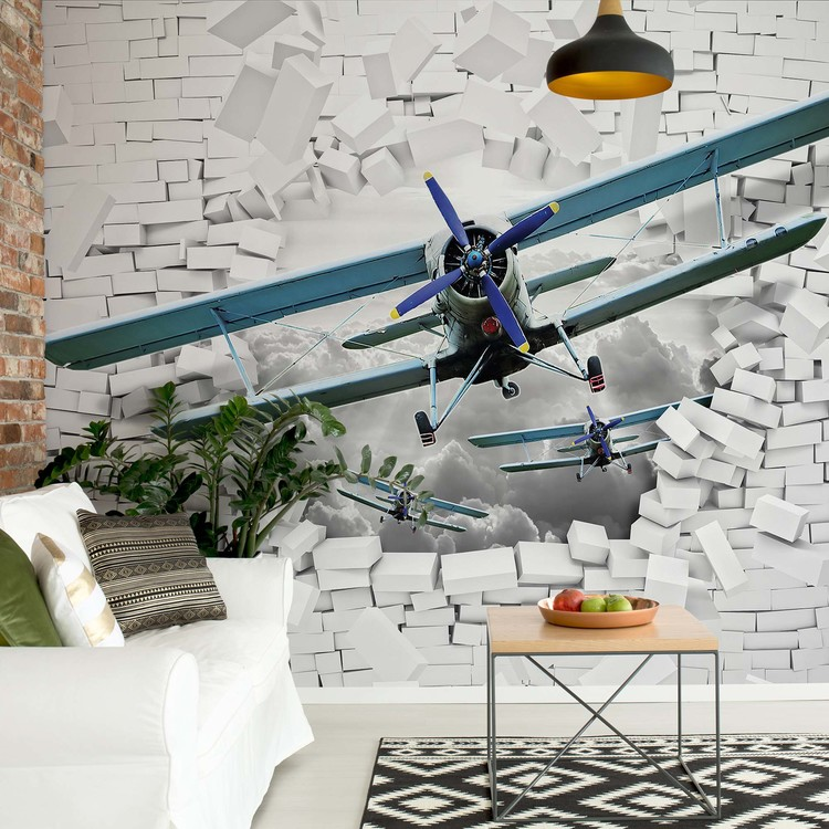 Fotomural  3D Plane Bursting Through Brick Wall