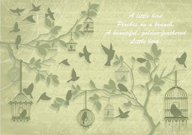 Fotomurale  Arboles de pa¡jaros verdes