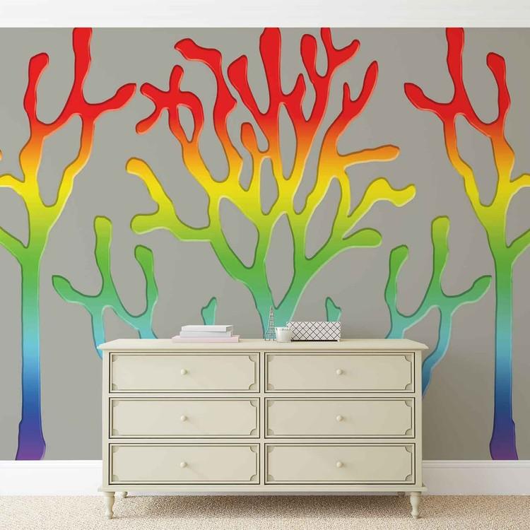 Fotomural  Arco iris arbol abstracto
