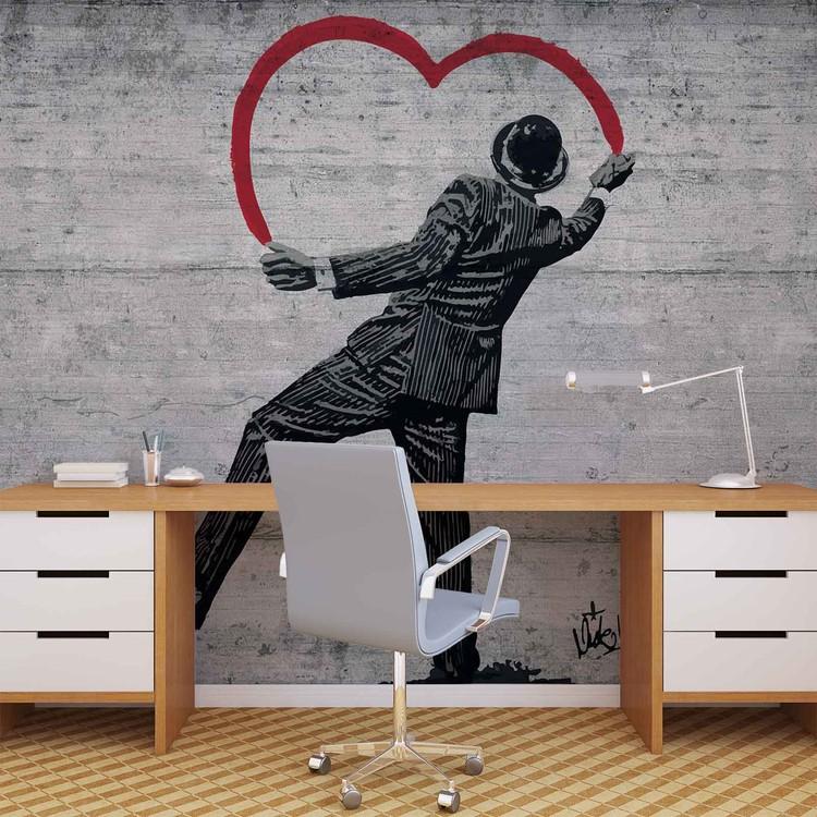 Fotomural Banksy Graffiti pared de concreto