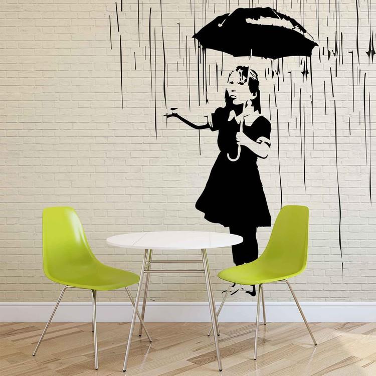 Fotomural  Banksy Graffiti pared de ladrillo