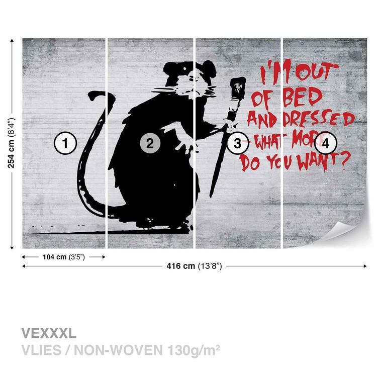 Fotomural Banksy Graffiti Rat Concrete Wall