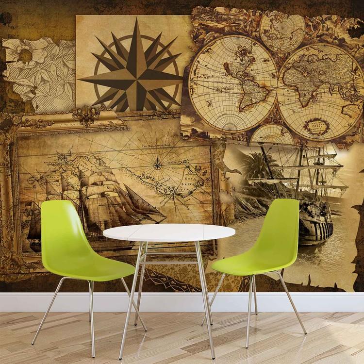 Fotomurale Barcos antiguos y mapas, Papel pintado | Europosters.es