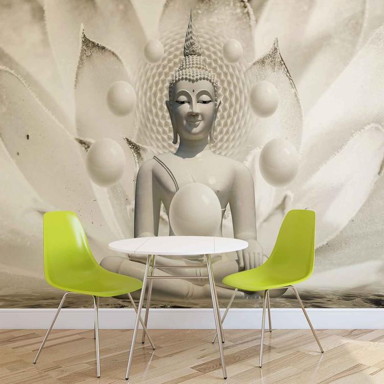 Fotomural Buda Zen Esferas Flor 3D