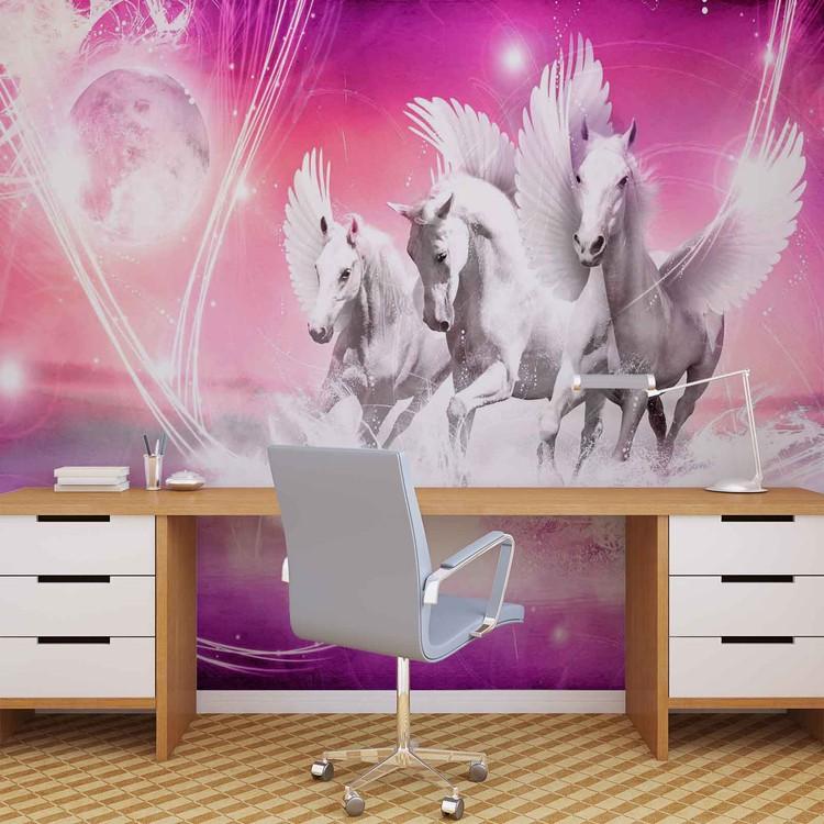Fotomural  Caballo con alas Pegasus Rosa
