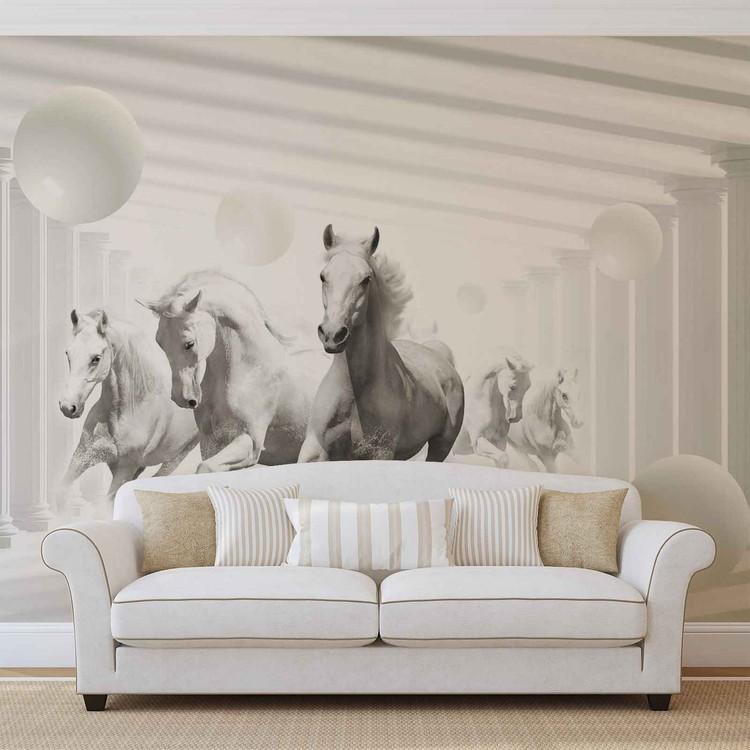 Fotomurale  Caballos Esferas Blancas