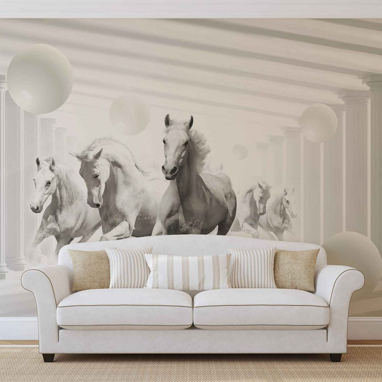 Fotomural  Caballos Esferas Blancas