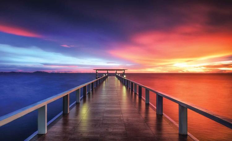 Fotomural Camino Puente Sol Puesta de sol Multicolor