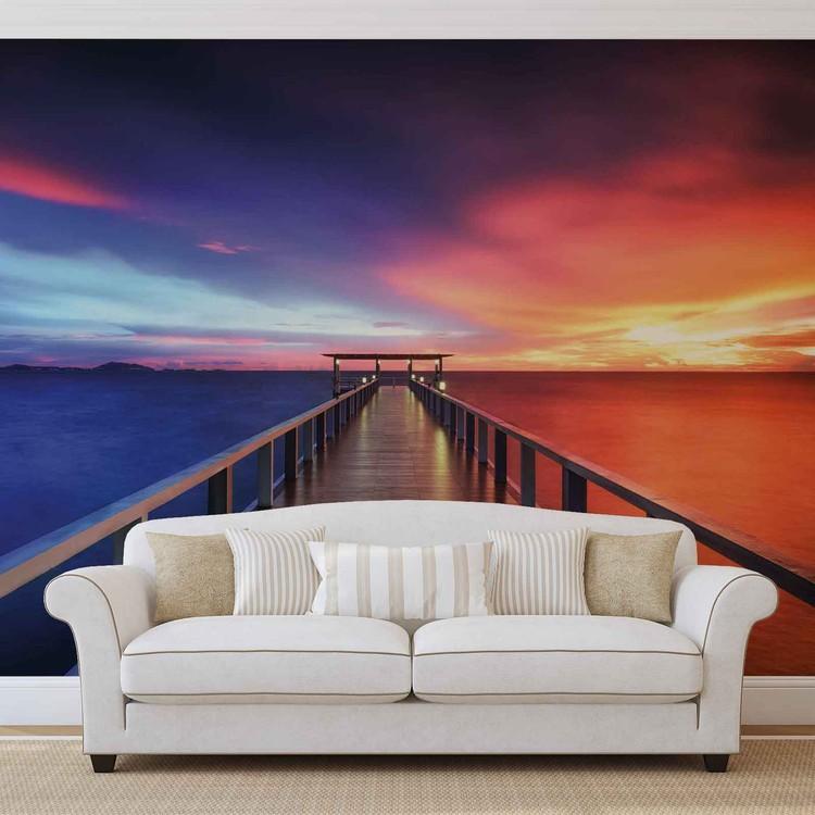 Fotomurale Camino Puente Sol Puesta de sol Multicolor