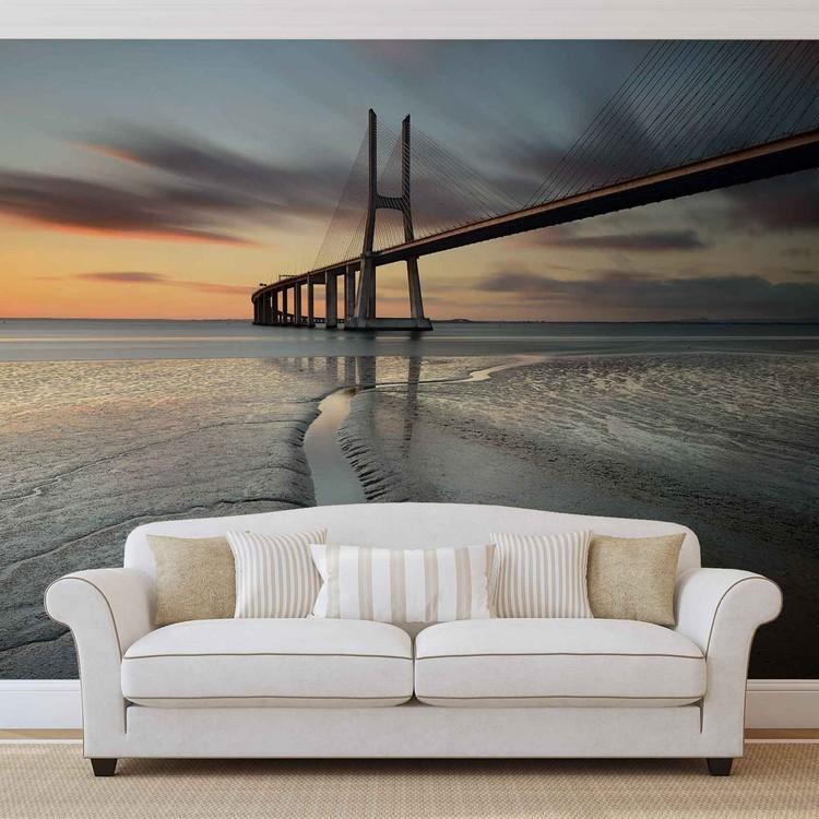 Fotomurale City Bridge Beach Sun Portugal Sunset