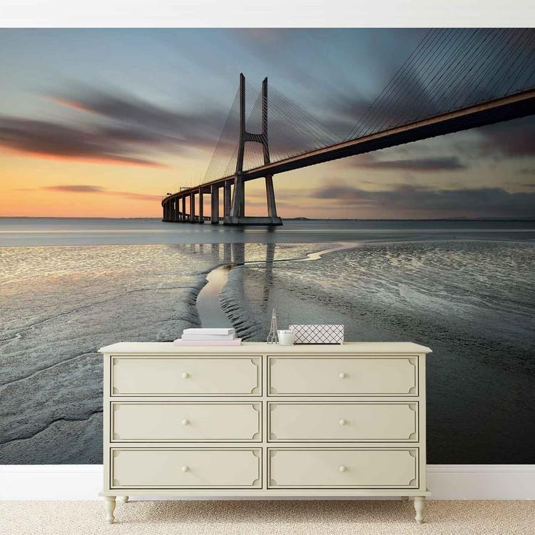 Fotomural Ciudad Puente Playa Sol Portugal Puesta de sol