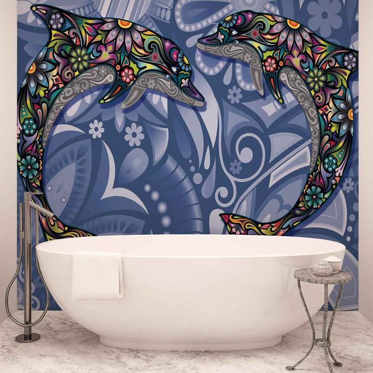 Fotomural Delfines flores colores abstractos