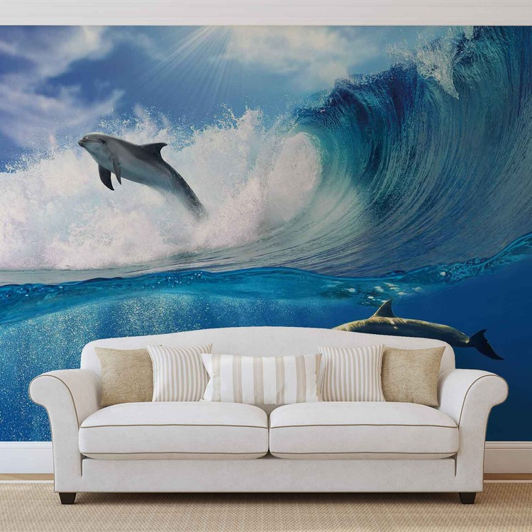 Fotomural Delfines Mar Ola Naturaleza
