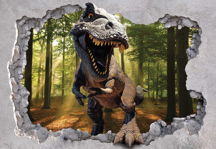 Fotomural Dinosaur 3D Jumping Out Of Hole In Wall