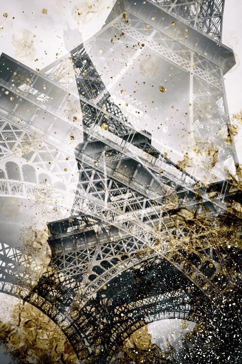 Fotomural Eiffel Tower | Vintage gold
