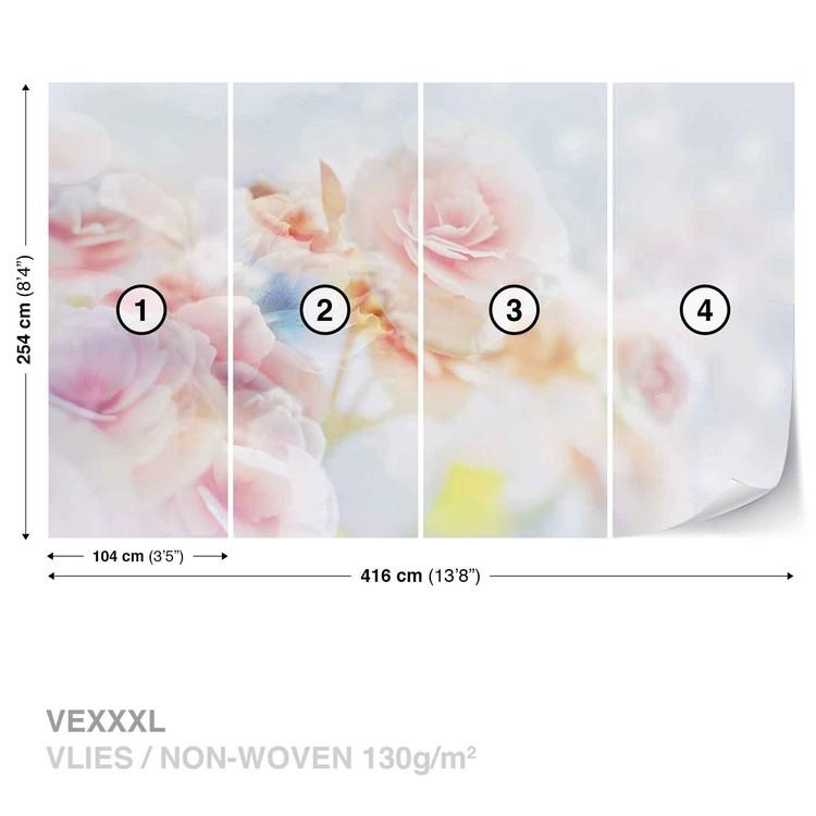 Fotomural  Flores en colores pastel