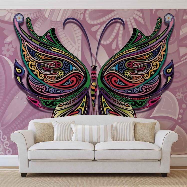 Fotomural Flores mariposas colores abstractos