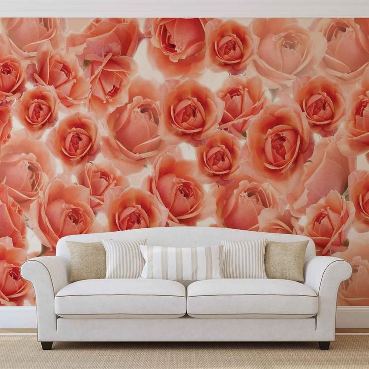Fotomural  Flores Rosas Rojas