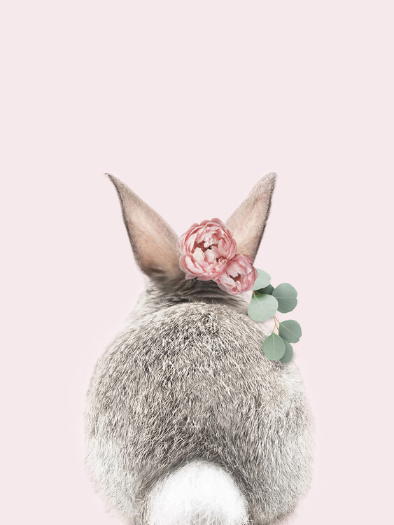 Fotomural Flower crown bunny tail pink