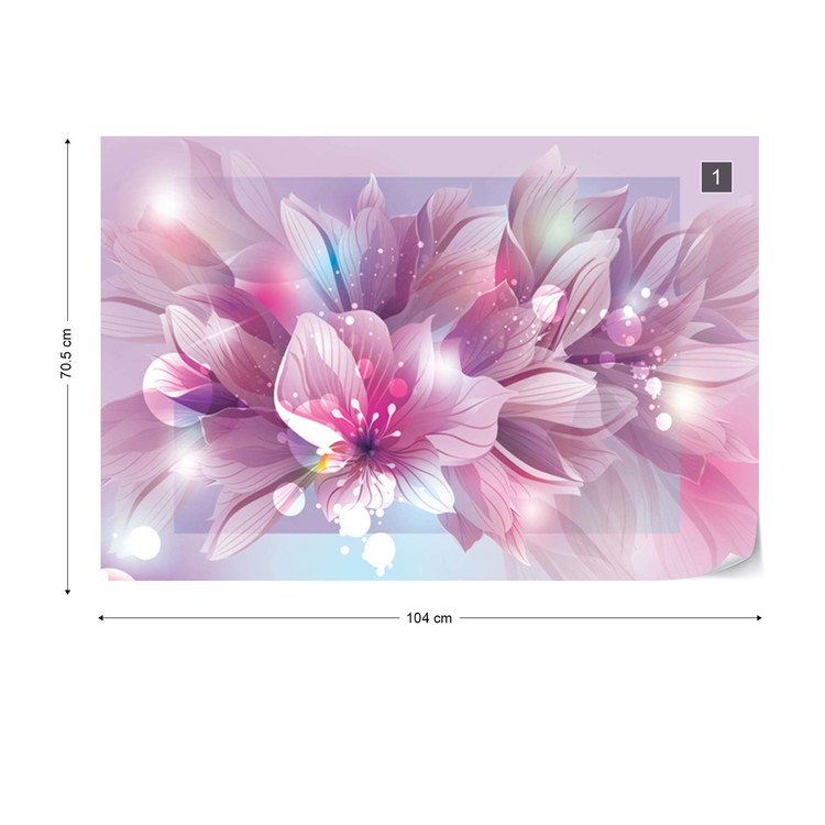 Fotomural Flowers Modern Pink And Purple