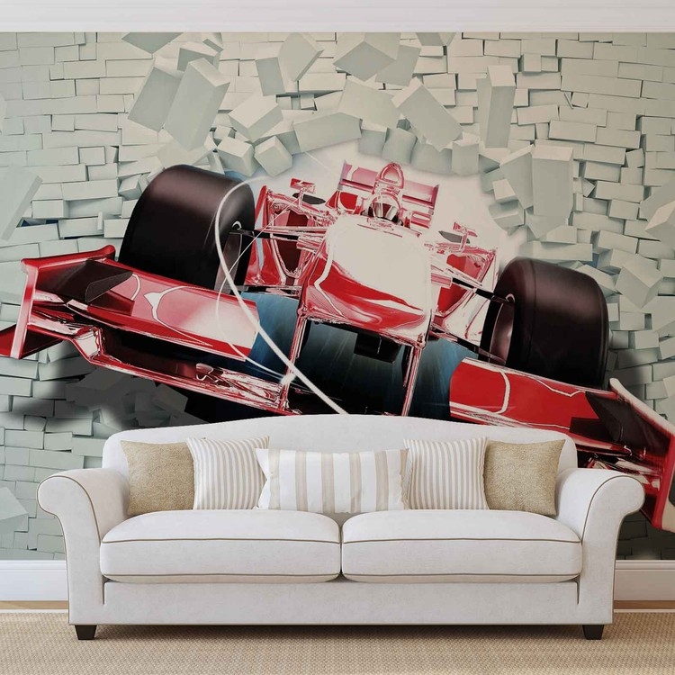 Fotomural  Formula 1 carros de carreras en ladrillos