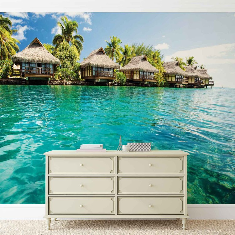 Fotomural Isla Caribe Mar Tropical Cottages Papel Pintado