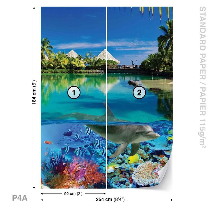 Fotomural Isla Paradisiaca con delfines corales
