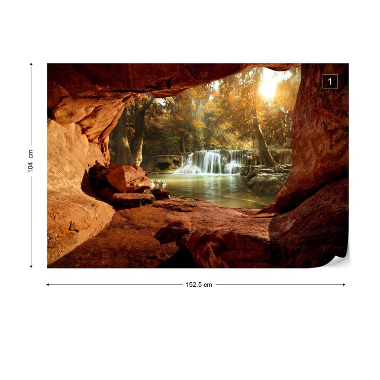 Fotomural  Lake Forest Waterfall Cave