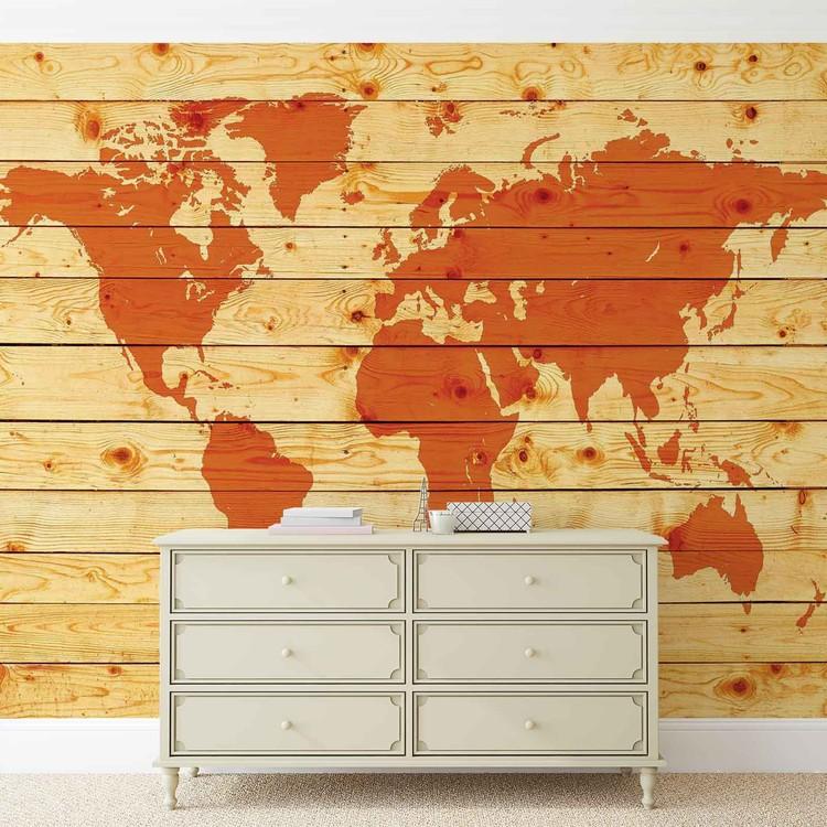 Fotomurale mapa del mundo tablones de madera papel for Papel pintado para madera