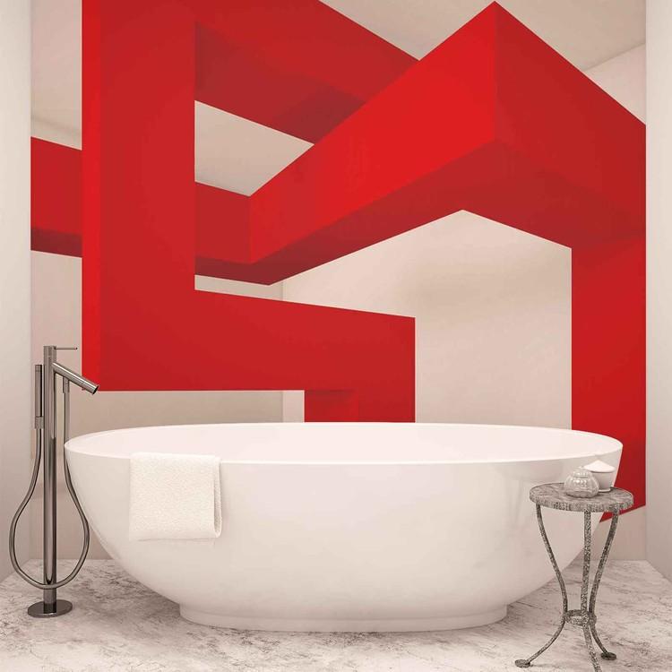 Fotomural  Moderno Abstracto Blanco Rojo