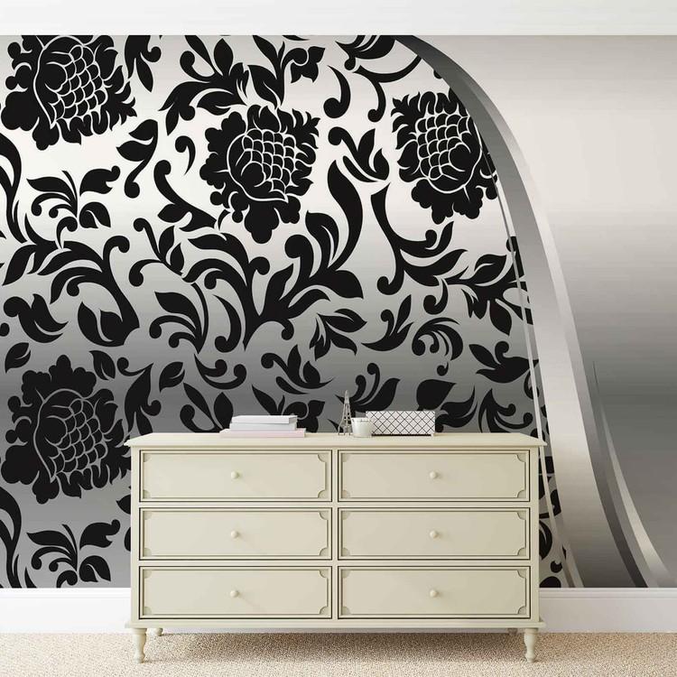 Fotomurale Negro patrón de flores de plata