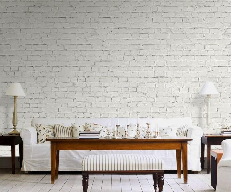 Fotomurale pared de ladrillo blanco papel pintado - Papel pintado ladrillo blanco ...