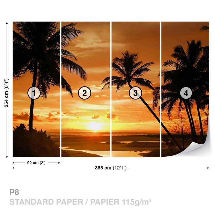 Fotomural Playa Tropical Sunset Palms