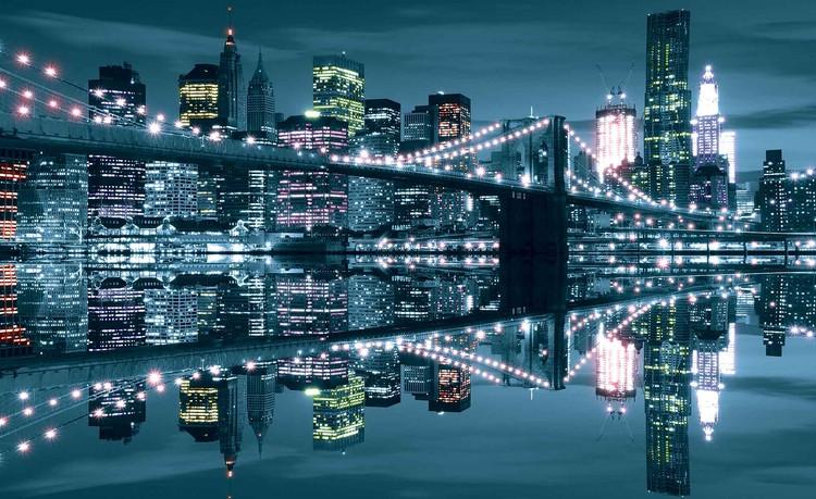 Fotomural Puente de Brooklyn del horizonte de New York City