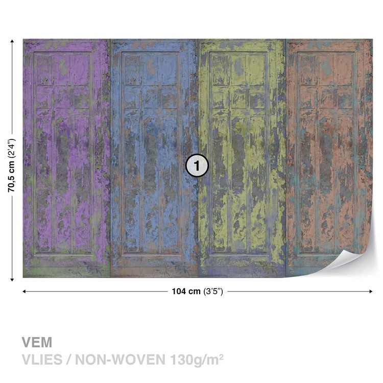 Fotomurale Puertas de madera pintada rustica, Papel pintado ...
