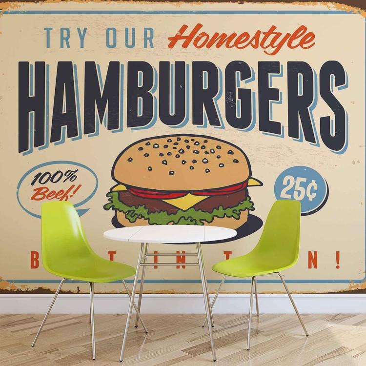 Fotomural Retro Poster Hamburguesas